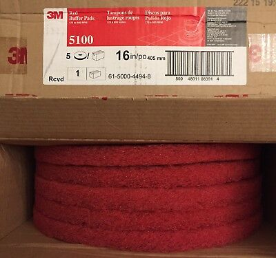 3M 5100 Buffing Pad, 16 In, Red Buffer, Pack of 5 Pads