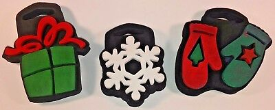 3-Holiday Time / Christmas Time Fabric Foam Stamps Present, Snowflake, Mittens