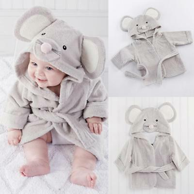 Baby Boys Hooded Cotton Dressing Gown Soft Bath Robe Wrap Towel Toddler