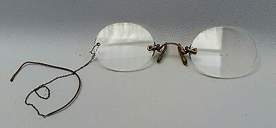 Vtg Rolled Gold Pince Nez Oval Frameless Reading Glasses Spectacles Steampunk