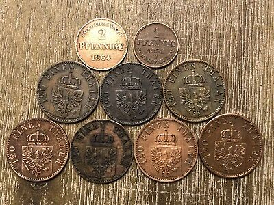 Lot of 9 German State coins from the 1850's - 1860's. Excellent Condition. LOOK!