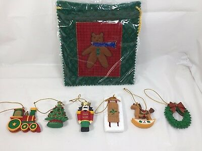 Avon Nostalgic Ornament Pouch filled with 6 ornaments  2001 NIB