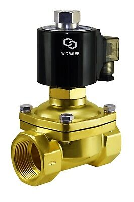 """1-1/2"""" Inch Normally Open Brass Zero Differential Electric Solenoid Valve 12V DC"""