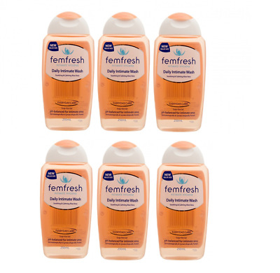 6 x FEMFRESH DAILY INTIMATE WASH 250ML = 1.5L SOOTHING & CALMING ALOE VERA VALUE