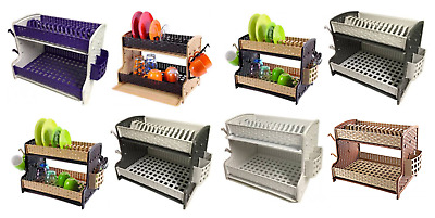 Kitchen 2 Tier Dish Drainer Dual Drip Tray Plate Bowl Cutlery Cup Rack Holder