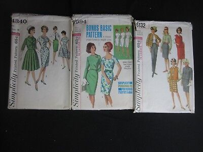 Lot of 3 Vintage 1960s Simplicity Sewing Patterns 4340, 6132, 5994  Sizes 10, 12