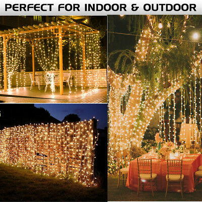 6x3M Window Curtain Icicle Lights String Fairy Light 304 600 Leds Wedding Party