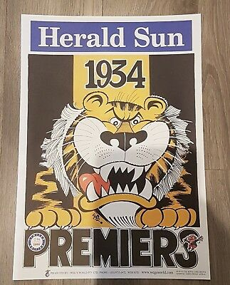 1934 Richmond Tigers Premiership Weg Poster Limited Edition Out Of 1000