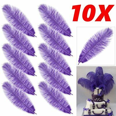 """10 x Arts Crafts Ostrich Feathers Fluffy 10""""-12"""" Long Purple"""