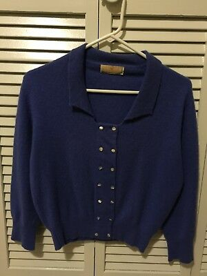 Vintage Connaught Blue Violet Cardigan Sweater 100% Imported Cashmere 1940s/50s