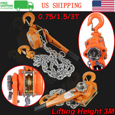 3Ton 9.84FT Ratcheting Chain 3MLever Block Hoist Puller Pulley Heavy Duty US