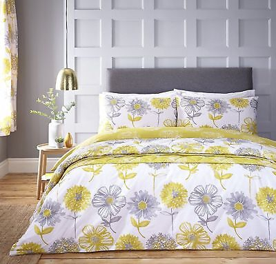 Catherine Lansfield Banbury Floral Easy Care Duvet Cover Bedding Set Yellow