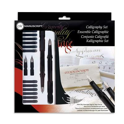 Manuscript Calligraphy Set Kit 4 Nibs, 2 Pens 12 Ink Refills, Manual, Made in UK