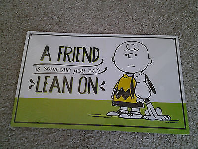 "Charlie Brown & Snoopy Metal Wall Hanging Sign ""a Friend Is Someone You Lean On"""