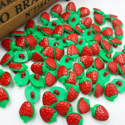 100pcs Red Cartoon strawberry plastic buttons Applique DIY Craft sewing PT37