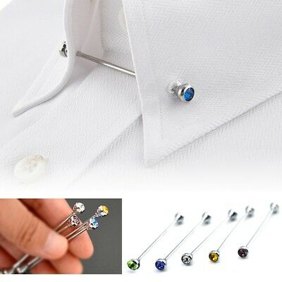 Mens Necktie Tie Clip Bar Clasp Shirt Cravat Pin Skinny Collar Brooch Lapel Tool