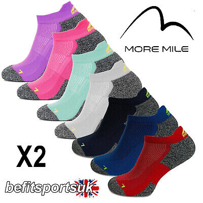More Mile Mens Womens Ladies Coolmax Ankle Running Sports Cushioned Socks 2