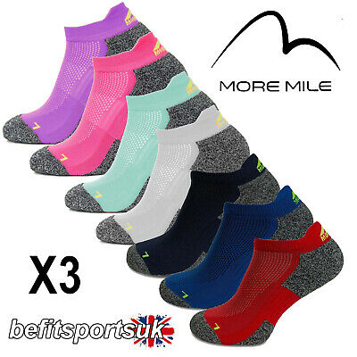 More Mile Men's Womens Ladies Coolmax Ankle Gym Running Sports Cushioned Socks 3