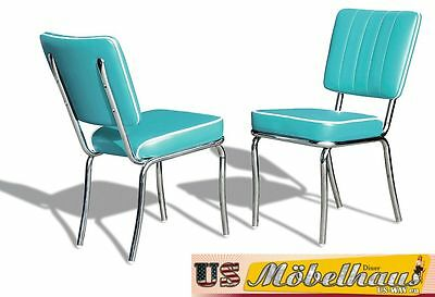 CO-25 Turquoise Bel Air Furniture 2 Chairs Diner Kitchen in the Style of 50
