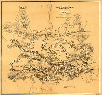 12x18 inch Reprint of American Cities Towns States Map Maryland Virginia