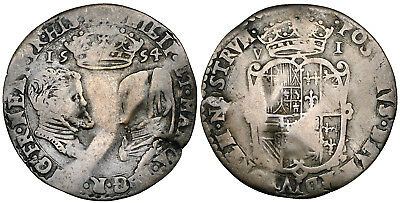 Philip and Mary, Sixpence, 1554 - Full Titles - Spink 2505 - Toned - Scarce