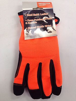 Touch Screen, High Vis Synthetic Leather Mechanics Gloves ,Orange Color