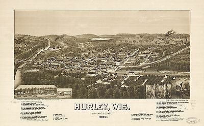 12x18 inch Reprint of American Cities Towns States Map Hurley Ashland Wisconsin
