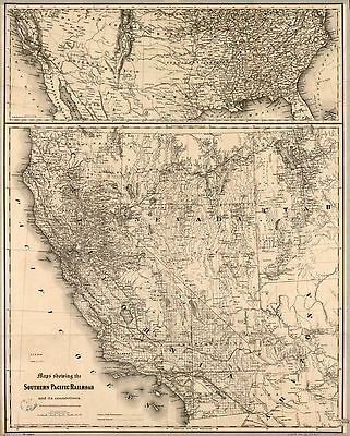 12x18 inch Reprint of American Railroad Map Southern Pacific