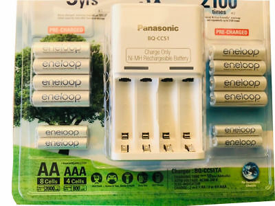 Panasonic Eneloop Recharge Battery Charger 8 AA 4 AAA Batteries NiMH, FREE SHIP