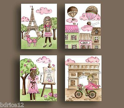 PARIS nursery art prints FRANCE FRENCH wall ART DECOR EIFFEL TOWER GIRL BEDDING
