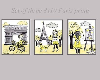 Paris Girls Nursery Wall Art Room Decor yellow gray art prints pictures