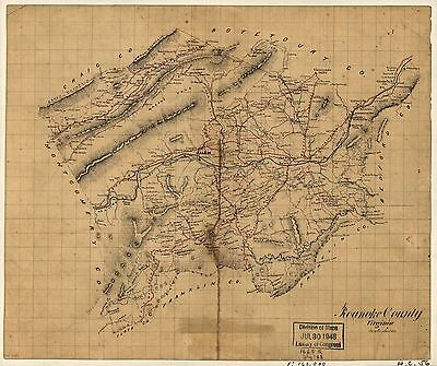 12x18 inch Reprint of American Cities Towns States Map Reanoke County Virginia
