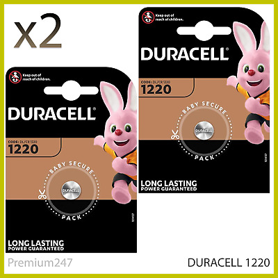 2 x Duracell CR1220 3 Volt Lithium Coin Cell Battery 1220 DL1220 Longest Expiry