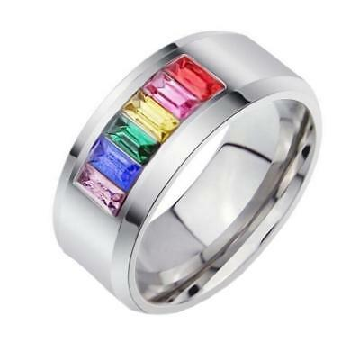 8mm Rainbow Stainless Steel Multi-color Rhinestone Ring Gay Les Pride Size 5-13