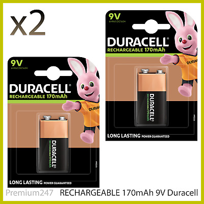 2 x Duracell 9V Rechargeable 170 mAh ULTRA Batteries PP3 Block 6LR61 DURALOCK