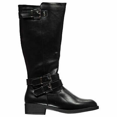 Miso Womens Mai Riding Boots Zip Buckle Full Textured