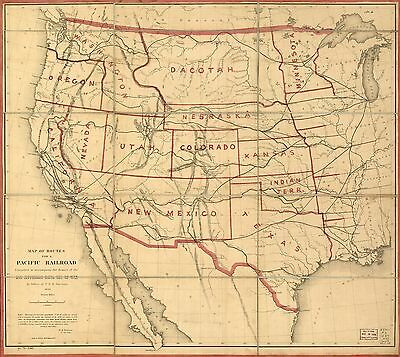 12x18 inch Reprint of American Railroad Map Northern Usa