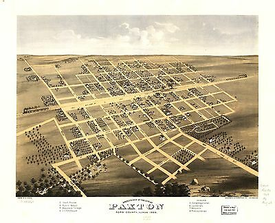 12x18 inch Reprint of American Cities Towns States Map Paxton Ford Illinois