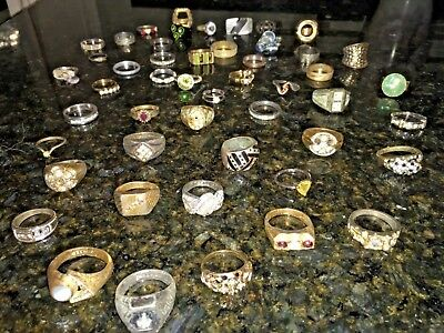 "LARGE Estate vintage to modern Lot of 46 Jewelry  Junk drawer. "" All Rings"""