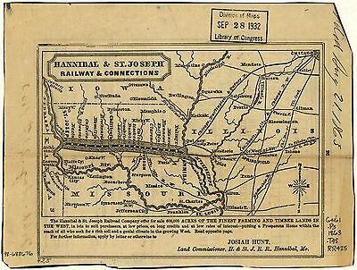 12x18 inch Reprint of American Railroad Map Hannibal St Joseph