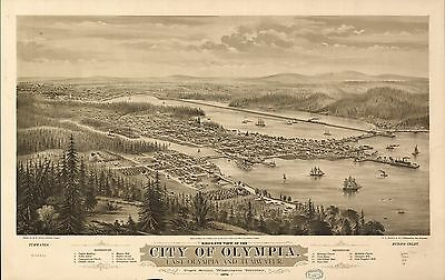 12x18 inch Reprint of American Cities Towns States Map Olympia Washington Ter