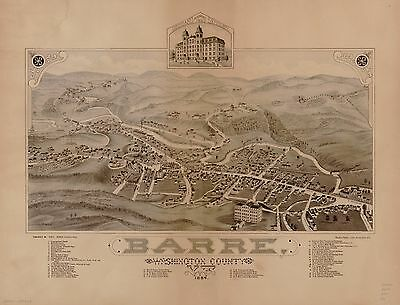 12x18 inch Reprint of American Cities Towns States Map Barre Vermont