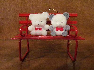 Avon Teddy Bear Collection Ornament Teddies On Bench Nib