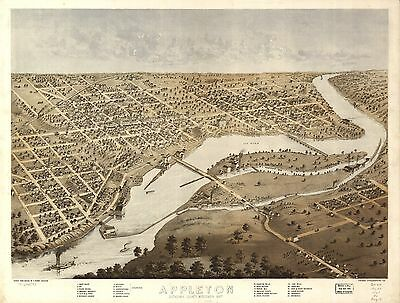 12x18 inch Reprint of  USA Cities Towns States Map Appleton Outagamie Wisconsin