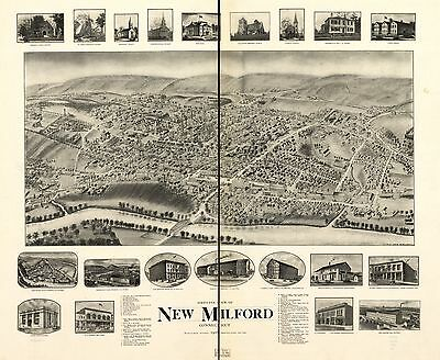 12x18 inch Reprint of American Cities Towns States Map New Millford Conn
