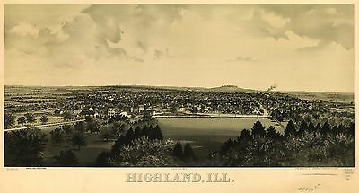 12x18 inch Reprint of American Cities Towns States Map Highland Illinois