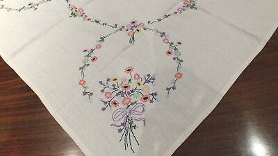 Vintage Hand Embroidered Linen Tablecloth~ Floral Bouquets & Garlands