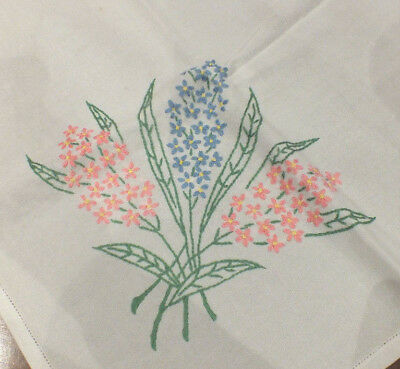 Vintage Hand Embroidered Linen Tablecloth~ Coloured Floral~Hyacinths