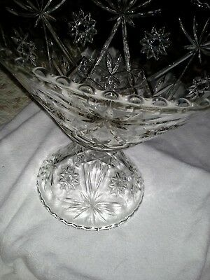 "Cut Glass Punch Bowl - 14"" Diameter, 7 1'2"" H with Stand - 9"" Diameter,7"" H"