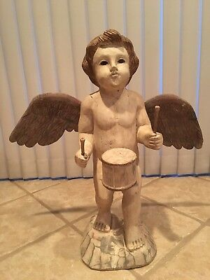 Vtg. Hand Carved Wooden Angel with Glass Eyes~Standing Cherub with Wings ~Putti